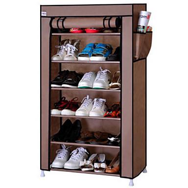 abordables Accessoires pour Chaussures-Cintre & Range Chaussures Tissu Oxford 6 niveaux Unisexe Argent / Violet / # Vin rouge (anti-rides)