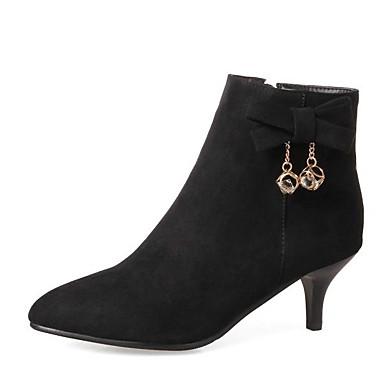 Žene Brušena koža / Sintetika Zima slatko / minimalizam Čizme Stiletto potpetica Krakova Toe Čizme gležnjače / do gležnja Štras / Mašnica Crn / Sive boje / Lila-roza