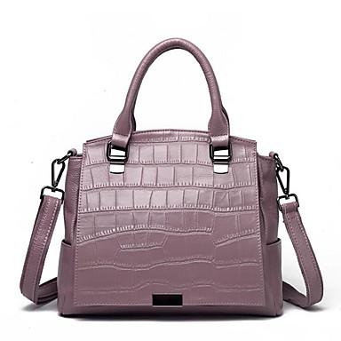 저렴한 가방-여성용 지퍼 어깨에 매는 가방 소가죽 퍼플 / 다크 그레이 / 와인