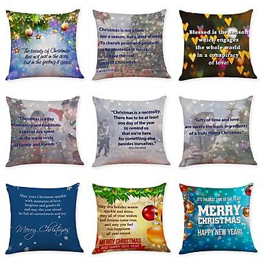 9 Pcs Linen Pillow Cover Art Deco Holiday Christmas