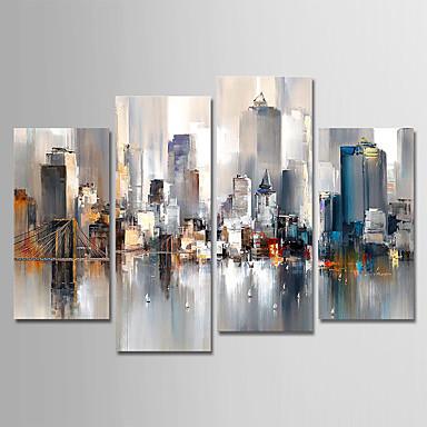 baratos Pinturas-pintura a óleo da lona pintados à mão resumo cidade paisagem conjunto de 4 para decoração de casa com moldura pronta para pendurar