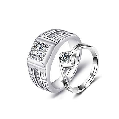 Par je Prsten Kubični Zirconia 1set Srebro Kubni Luksuz Vjenčanje Party Jewelry Klasičan Csillag Cool