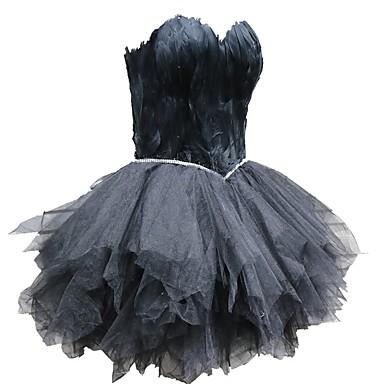 Crni labud Mala crna haljina Elegantno Haljine Povorka maski Žene Til Kostim Crn Vintage Cosplay Maturalna zabava Bez rukávů / Haljina / Haljina