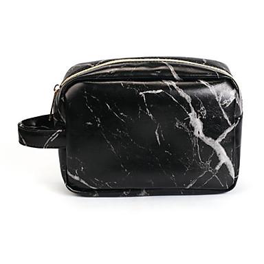 Pu Borsa Per Cosmetica Cerniera Bianco - Nero #07012248