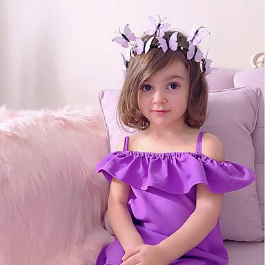 رخيصةأون ملابس الفتيات-فستان فوق الركبة بدون كم كشكش لون سادة مناسب للحفلات / مناسب للعطلات رياضي Active / حلو للفتيات طفل صغير