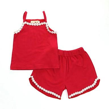 povoljno Donje rublje i čarape za djevojčice-2kom Dijete koje je tek prohodalo Djevojčice Aktivan Osnovni Dnevno Tratinčica Jednobojni Čipka Bez rukávů Regularna Normalne dužine Pamuk Sleepwear Red