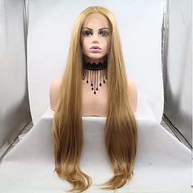 Lănțișoare frontale din sintetice Kinky Straight Stil Frizură în Straturi Față din Dantelă Perucă Blond Auriu Deschis Păr Sintetic 20-26 inch Pentru femei Dame Blond Perucă Lung Sylvia 180% Human
