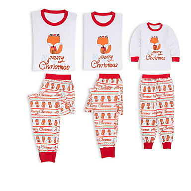 cd0df133d0 Family Look Basic Christmas Daily Animal Long Sleeve Polyester Clothing Set  White