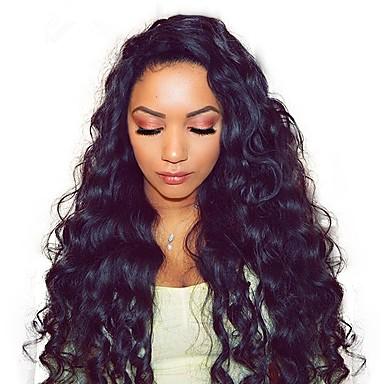 Remy kosa Full Lace Perika Asimetrična frizura Rihanna stil Brazilska kosa Water Wave Loose Curl Natural Crna Perika 130% 150% 180% Gustoća kose Nježno Žene Najbolja kvaliteta Rasprodaja kovrčav Žene