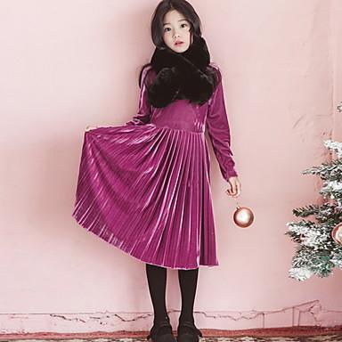 baratos Princesa-Infantil Para Meninas Básico Sólido Manga Longa Vestido Roxo