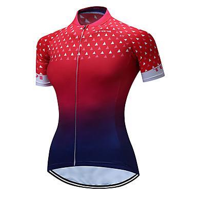 TELEYI Žene Kratkih rukava Biciklistička majica Red+Blue Postupno Veći konfekcijski brojevi Bicikl Biciklistička majica Majice Prozračnost Ovlaživanje Quick dry Sportski Poliester Brdski biciklizam