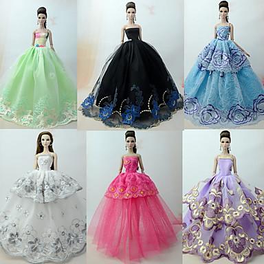 Princesa / Elegante / Corte Cenicienta Vestidos 6 pcs por Barbiedoll Organdí Ropa para Muñecas por Chica de muñeca de juguete