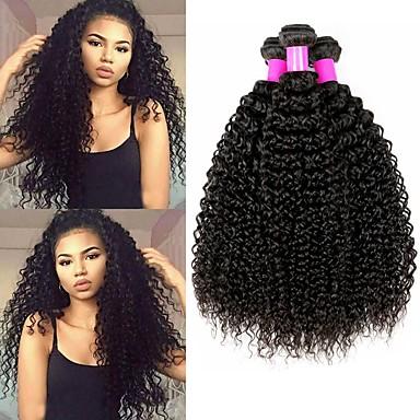 4 paketića Kinky Curly Ljudska kosa Netretirana  ljudske kose Headpiece Ljudske kose plete Styling kose 8-28 inch Crna Prirodna boja Isprepliće ljudske kose Svilenkast Najbolja kvaliteta Gust