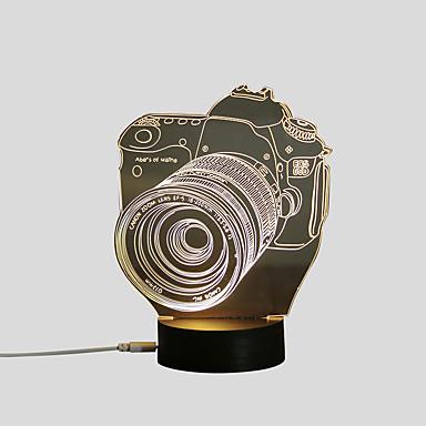 1set 3D éjszakai fény Meleg fehér USB Kreatív / Biztonság / Díszítmény 5 V