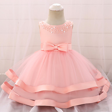 83d984e7f07 Baby Girls  Active   Basic Party   Birthday Solid Colored Lace Sleeveless  Knee-length Cotton   Polyester Dress Pink