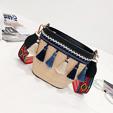 cheap Going to the beach-Women's Tassel Shoulder Messenger Bag Straw Bag Straw Blushing Pink / Brown / Light Grey