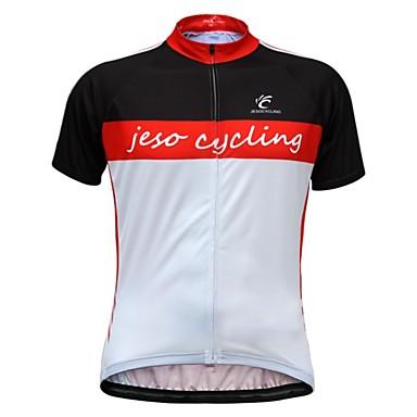 JESOCYCLING Muškarci Kratkih rukava Biciklistička majica Red / White Bicikl Biciklistička majica Majice Prozračnost Ovlaživanje Quick dry Sportski 100% poliester Brdski biciklizam biciklom na cesti