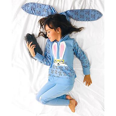 baratos Conjuntos para Meninas-Infantil Bébé Para Meninas Activo Básico Diário Feriado Estampado Desenho Animado Estampado Manga Longa Padrão Algodão Conjunto Azul