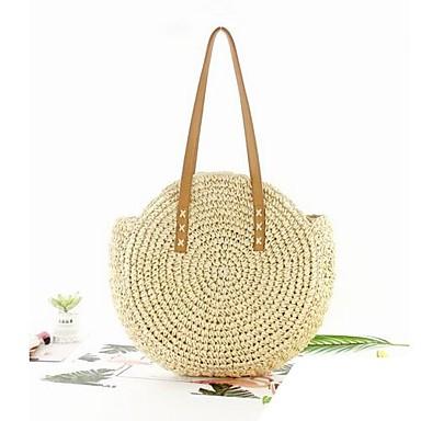 저렴한 가방-여성용 할로우 어깨에 매는 가방 스트로 백 밀짚 베이지 / 브라운