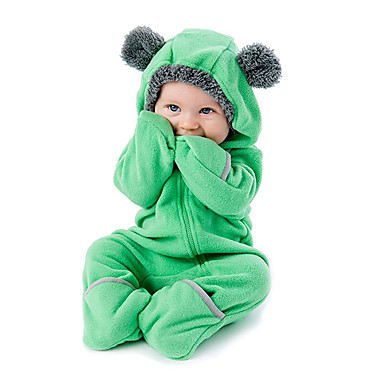 billige 10/11-Baby Gutt Aktiv / Grunnleggende Daglig Ensfarget Glidelås Langermet Endelt Grønn