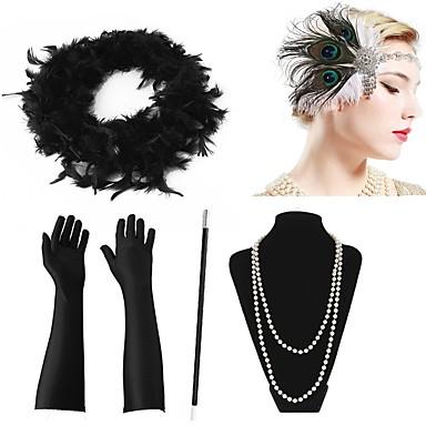 Velký Gatsby 20. léta Gatsby Kostým Dámské Čelenka Flapper Doplňky do vlasů İnci Kolyeler Zelená a černá / Černá + bílá / zlatá + černá Retro Cosplay