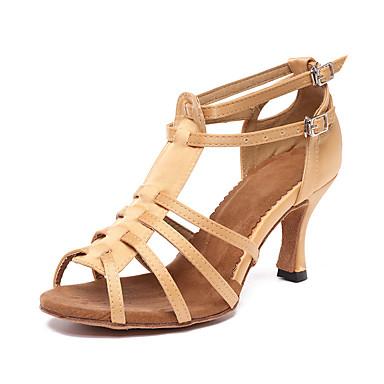 baratos Shall We® Sapatos de Dança-Mulheres Sapatos de Dança Cetim Sapatos de Dança Latina Salto Salto Cubano Personalizável Caqui / Espetáculo / Couro / Ensaio / Prática
