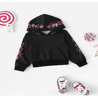 9ff8b5fd8ea Μωρό Κοριτσίστικα Βασικό Μονόχρωμο Κοντομάνικο / Μακρυμάνικο Ακρυλικό /  Πολυεστέρας Μπλούζα με Κουκούλα & Φούτερ Μαύρο / Νήπιο