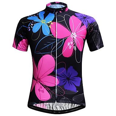 JESOCYCLING Femme Manches Courtes Maillot de Cyclisme - Blanc Noir Cyclisme Hauts / Top Séchage rapide Des sports 100 % Polyester VTT Vélo tout terrain Vélo Route Vêtement Tenue / Elastique