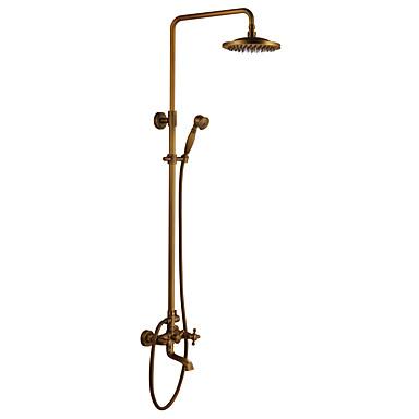 Rubinetto Doccia - Antico Ottone Antico Sistema Doccia Valvola In Ceramica Bath Shower Mixer Taps - Doccia A Pioggia - Docetta Inclusa - # - Due Maniglie Tre Fori #00165840