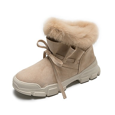 5926934046a Women s Suede   Faux Fur Winter Casual Boots Flat Heel Round Toe Booties   Ankle  Boots Black   Beige   Khaki