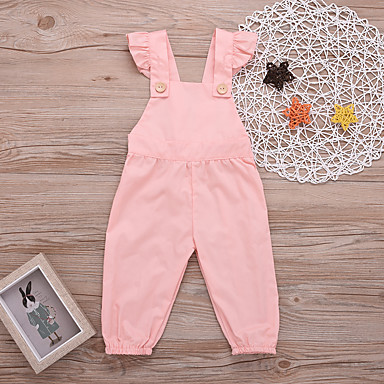 bd30ba86c72 Baby Girls  Active   Street chic Party   Daily Solid Colored Backless    Lace up   Buckle Sleeveless Cotton   Spandex Romper Pink