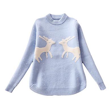 baratos Suéteres & Cardigans para Meninas-Infantil Para Meninas Moda de Rua Diário Estampado Manga Longa Padrão Suéter & Cardigan Azul