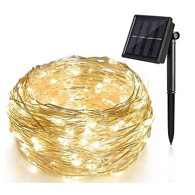 10 m luzes da corda 100 leds 1 conjunto suporte de montagem quente branco solar decorativo solar alimentado natal casamento ano novo