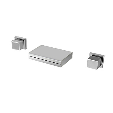 Torneira pia do banheiro - Cascata / Termostática / LED Cromado Montagem de Parede Três Aberturas / Duas alças de três furosBath Taps / Latão