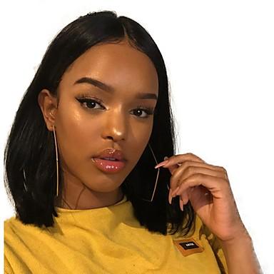 Remy kosa Full Lace Lace Front Perika Bob frizura stil Brazilska kosa Ravan kroj Prirodno ravno Natural Crna Perika 130% 150% 180% Gustoća kose Nježno Klasični Žene Najbolja kvaliteta Prirodna linija