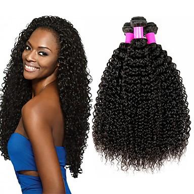 baratos Extensões de Cabelo Natural-4 pacotes Cabelo Brasileiro Kinky Curly Cabelo Virgem Cabelo Humano Ondulado Cabelo Bundle Um Pacote de Solução 8-28 polegada Côr Natural Tramas de cabelo humano S. Valentim Sedoso Melhor qualidade