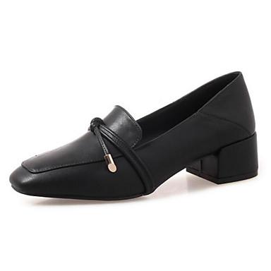Women's Microfiber Fall Loafers & Slip-Ons Chunky Heel Black / Beige