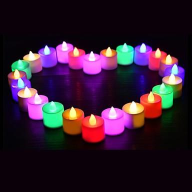 זול תאורה דקורטיבית-24pcs הוביל נרות multicolor המנורה סימולציה צבע הלהבה תה אור בית החתונה מסיבת יום הולדת קישוט dropshipping