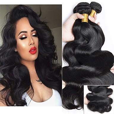 4 paketića Indijska kosa Tijelo Wave Ljudska kosa Wig Accessories Ljudske kose plete Styling kose 8-28 inch Prirodna boja Isprepliće ljudske kose Nježno Smooth Woven Proširenja ljudske kose