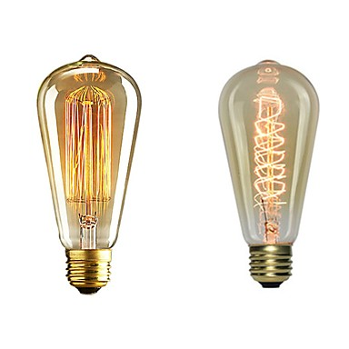 billige Elpærer-2pcs 40 W E26 / E27 ST64 Varm hvit 2200-2700 k Kontor / Bedrift / Mulighet for demping / Dekorativ Glødende Vintage Edison lyspære 220-240 V