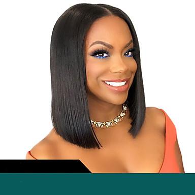 halpa Aitohiusperuukit verkolla-Remy-hius Lace Front Peruukki Bob-leikkaus tyyli Brasilialainen Suora Musta Peruukki 130% 150% 180% Hiusten tiheys ja vauvan hiukset Naisten kuuma Myynti 100% Neitsyt jalostamattomia Musta Naisten