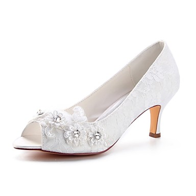cheap Wedding Shoes-Women's Satin Spring & Summer Wedding Shoes Stiletto Heel Peep Toe Crystal Ivory / Party & Evening