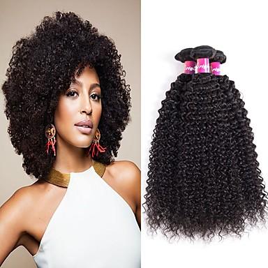 voordelige Weaves van echt haar-4 bundels Braziliaans haar Kinky Curly Echt haar Niet verwerkt Menselijk Haar Helm Menselijk haar weeft Haarverzorging 8-28 inch(es) Natuurlijke Kleur Menselijk haar weeft Waterherfst Glad