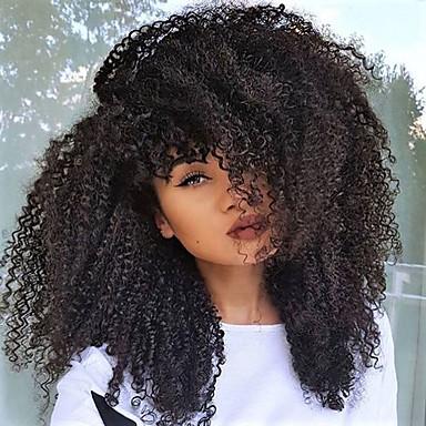 Prednja perika od sintetičkog čipke Kovrčav Kinky Curly Stil Stepenasta frizura Lace Front Perika Crna Tamnosmeđa Sintentička kosa 18 inch Žene Otporan na toplinu Prirodna linija za kosu / Da