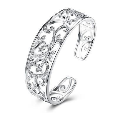 56e08596a Dámské Bílá Kubický zirkon Ryté Široké náramky dámy Módní Náramky Šperky  Stříbrná Pro Dar Denní