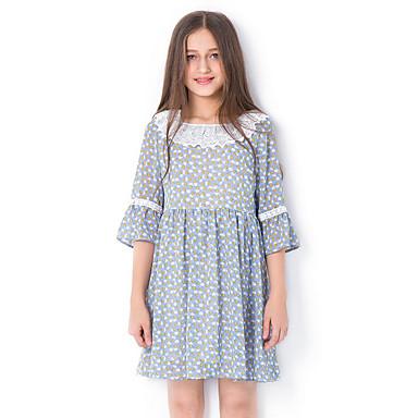 0fd3f26259 Kids Girls  Basic Daily Geometric Half Sleeve Dress Green