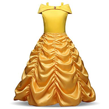 baratos Princesa-Infantil Bébé Para Meninas Vintage Doce Natal Feriado Sólido Pregueado Manga Longa Médio Vestido Amarelo