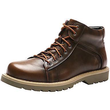 Муж. Комфортная обувь Кожа Наступила зима На каждый день / Английский Ботинки Ботинки Черный / Коричневый / Вино