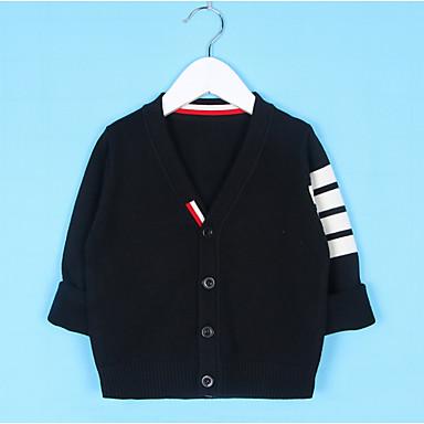 baratos Suéteres & Cardigans para Meninos-Infantil Para Meninos Moda de Rua Sólido Manga Longa Padrão Suéter & Cardigan Azul