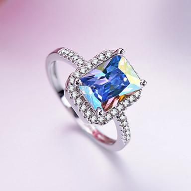 2019 New Style Sterling Silver Cz Aqua Heart Ring Fine Jewelry